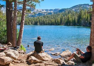 Man sitting at the water with evergreen trees and low mountains in the background.