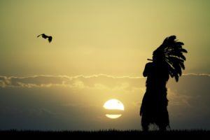 Person wearing a traditional Native headdress looking at the sunrise with a bird flying overhead.