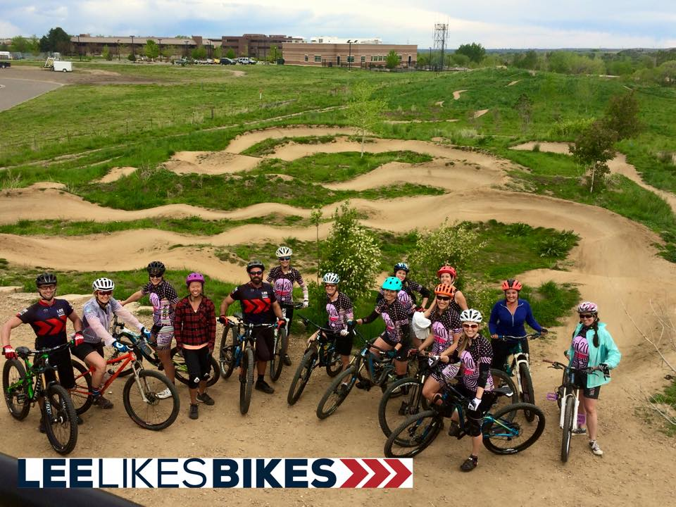 Coaches Lee McCormack, Kevin Stiffler and Amy Shenton work at Valmont Bike Park with this women's only team to increase their Shred Skills.