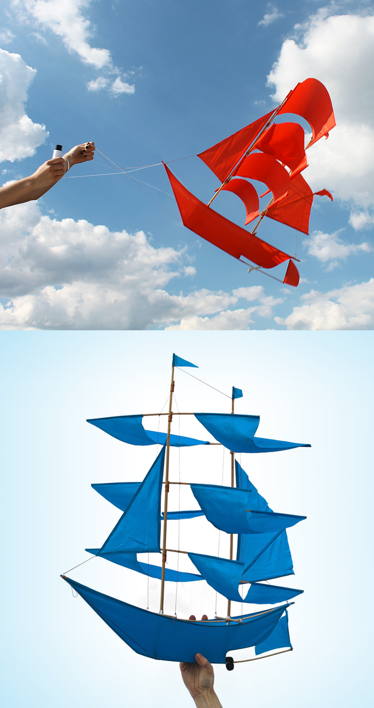 Curator: it will be a conversation piece both in the field and at home. - Set sail and soar on the wind with this sailing ship kite. The kites are handmade by Balinese artisans, and they really flies!