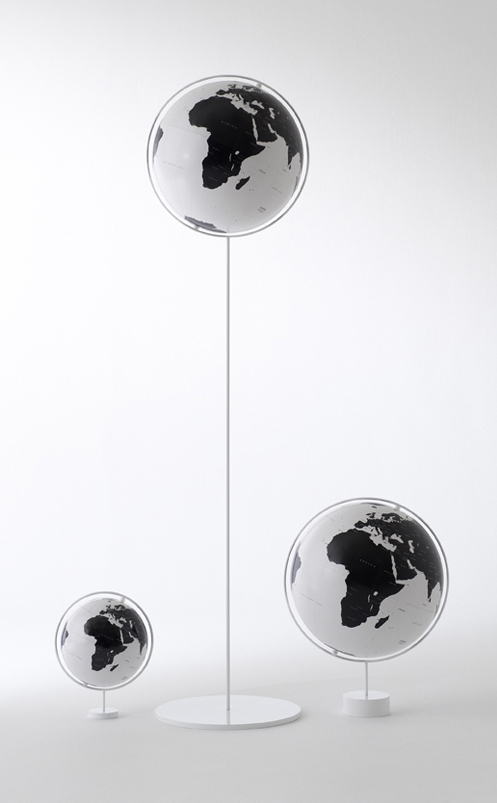 Curator: unlike traditional busy and heavy globes, this globe appears to be floating like a ballon and is beautifully poetic. - Nendo, the prolific and talented Japanese design studio, re-designed the traditional globe for Watanabe Kyogu. Nendo presents a modern globe without borders, as satellite view of water lines, along with only major cities for a simplified view of the world. Watanabe Kyogu Co. has been making high quality globes in Soka, Saitama Prefecture outside of Tokyo since 1937.
