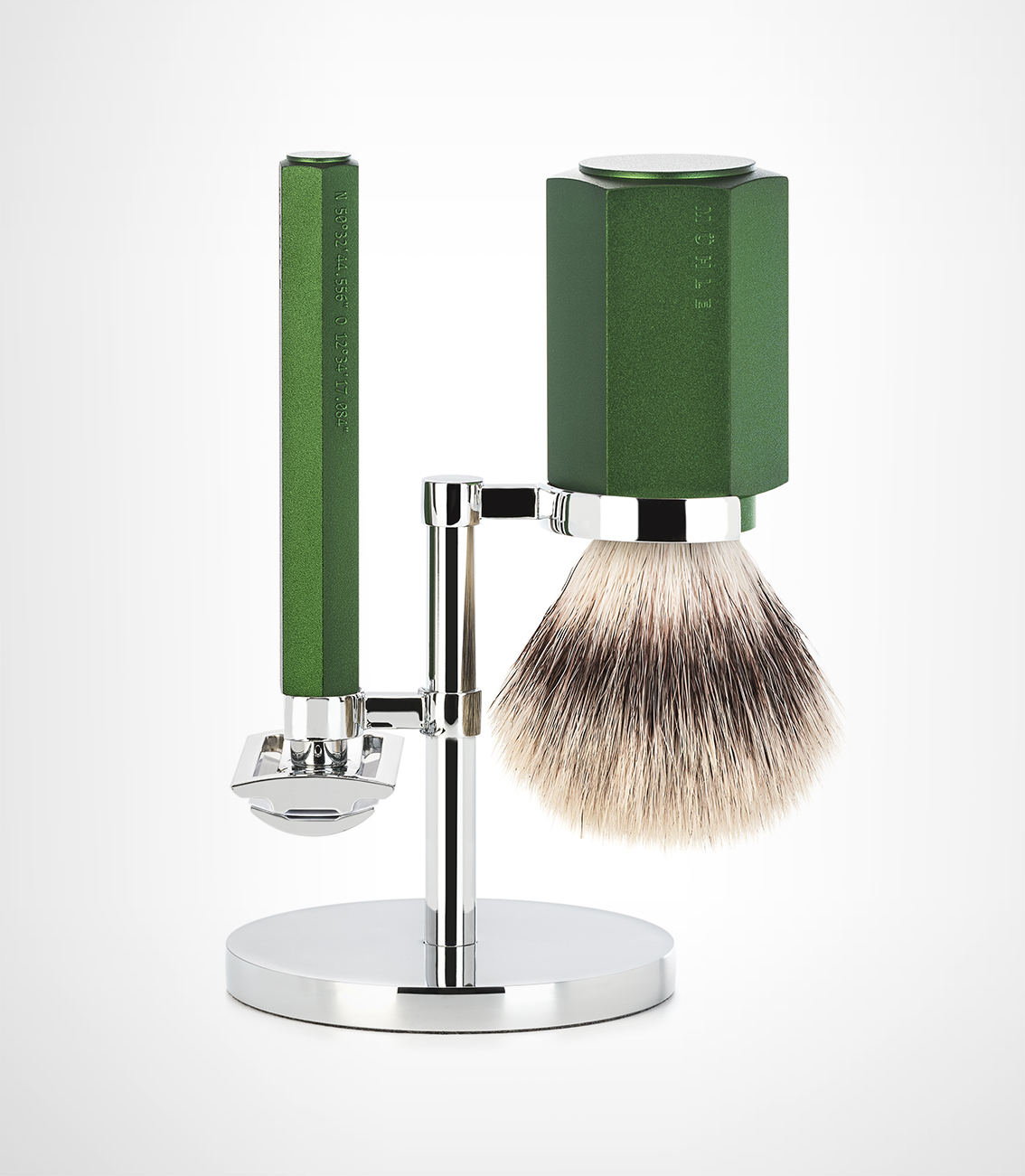 Curator: elevate into an enjoyable design experience from your dull shaving routine. - This shaving set is designed by Berlin designer Mark Braun and is one of the finest shaving implement. It is a Red Dot Award winner for Product Design.