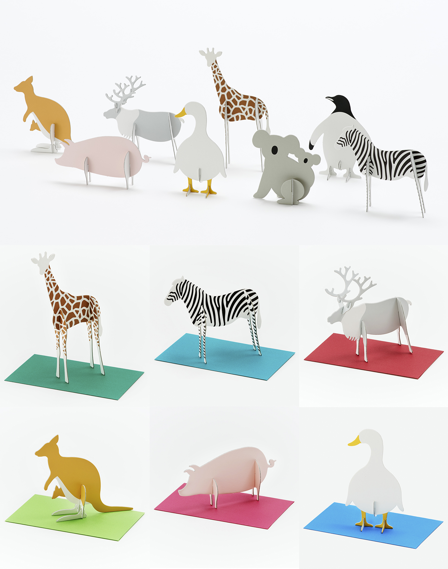 Curator: a greeting card that will surely bring a smile to your loved ones. - An animal paper kit to carry your important message. Write a message on the body and send the part in an envelope. It is a fun message card that the recipient can assemble and decorate.