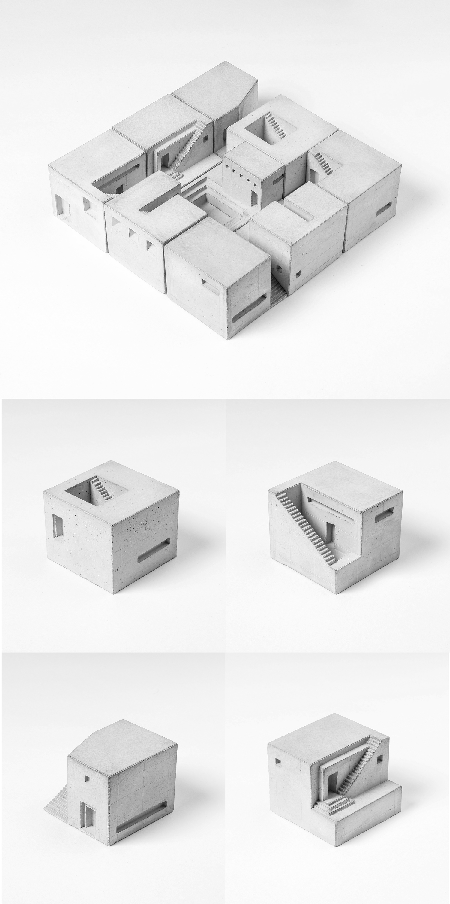 "Curator: placing these concrete modules in various permutation is fun and creates different interesting ""spaces"". - These miniature concrete home spaces evoke your imagination each time you glance at the different facades. There are altogether nine different homes, with each piece unique and defined by volumes and voids, encouraging you to imagine what could be lying inside."