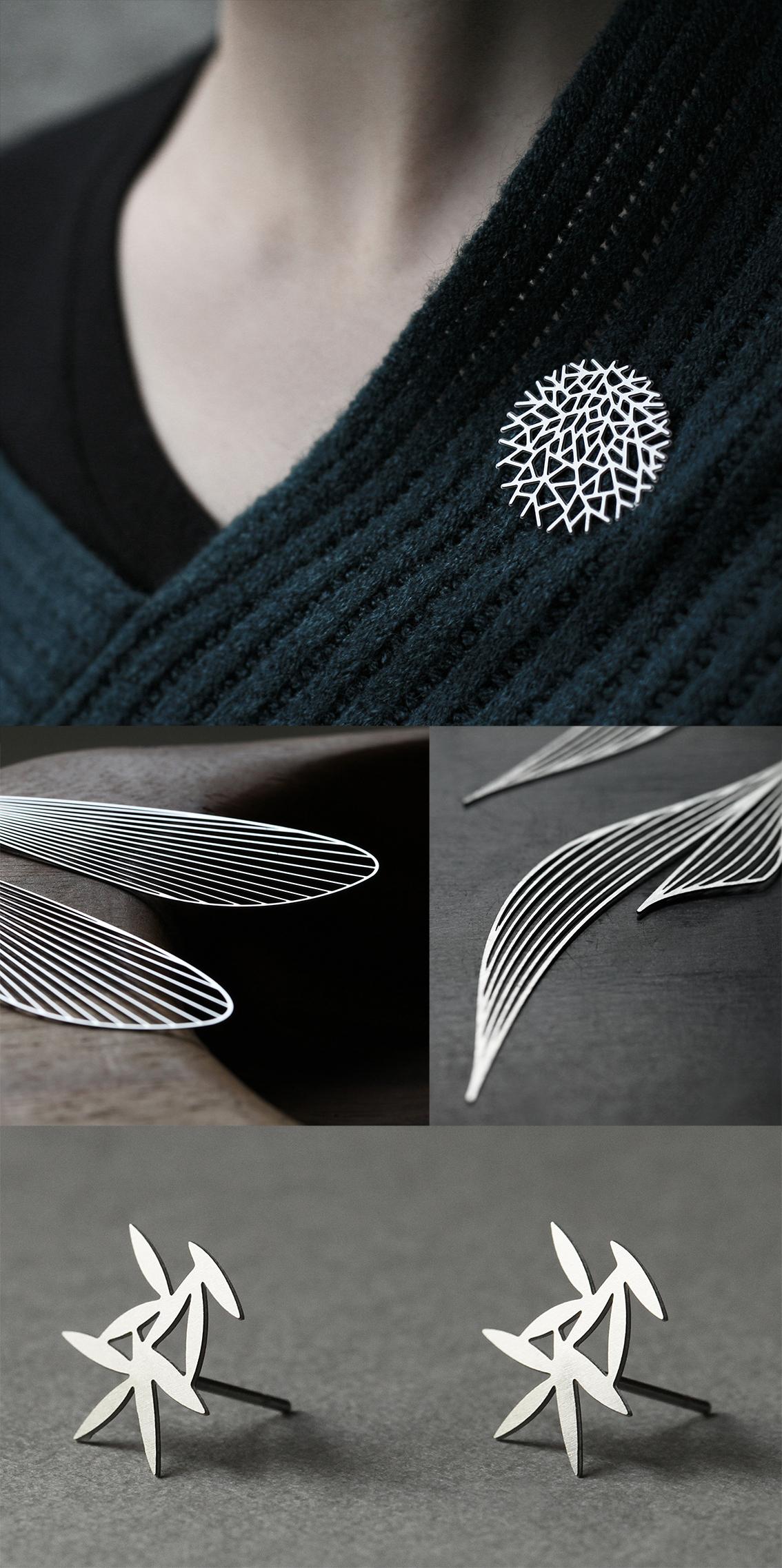 策展人:它价格亲民,却不失美感,同时又具有一流的品质。 - 这些可穿戴配件由激光切割的不锈钢制成,简约、稳重的线条衬托出其自然的本色,又不会显得过于奢华。