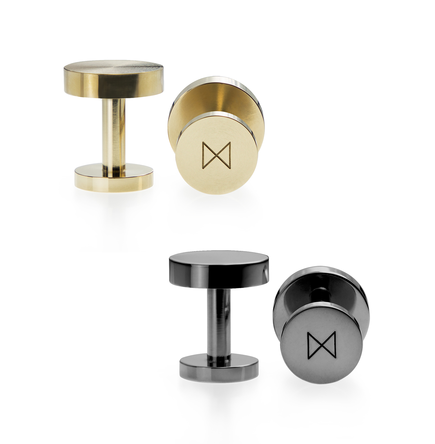 Curator: it is like a precision part of a machinery, the solid material and the precise craftsmanship exude quality. - These cufflinks are precision machined from single bars of solid brass. It is created by a London design brand to season your world with a simple, unified and long-lasting aesthetic. The essence of the design lies in its formal simplicity, premium materials and lustrous finishing.