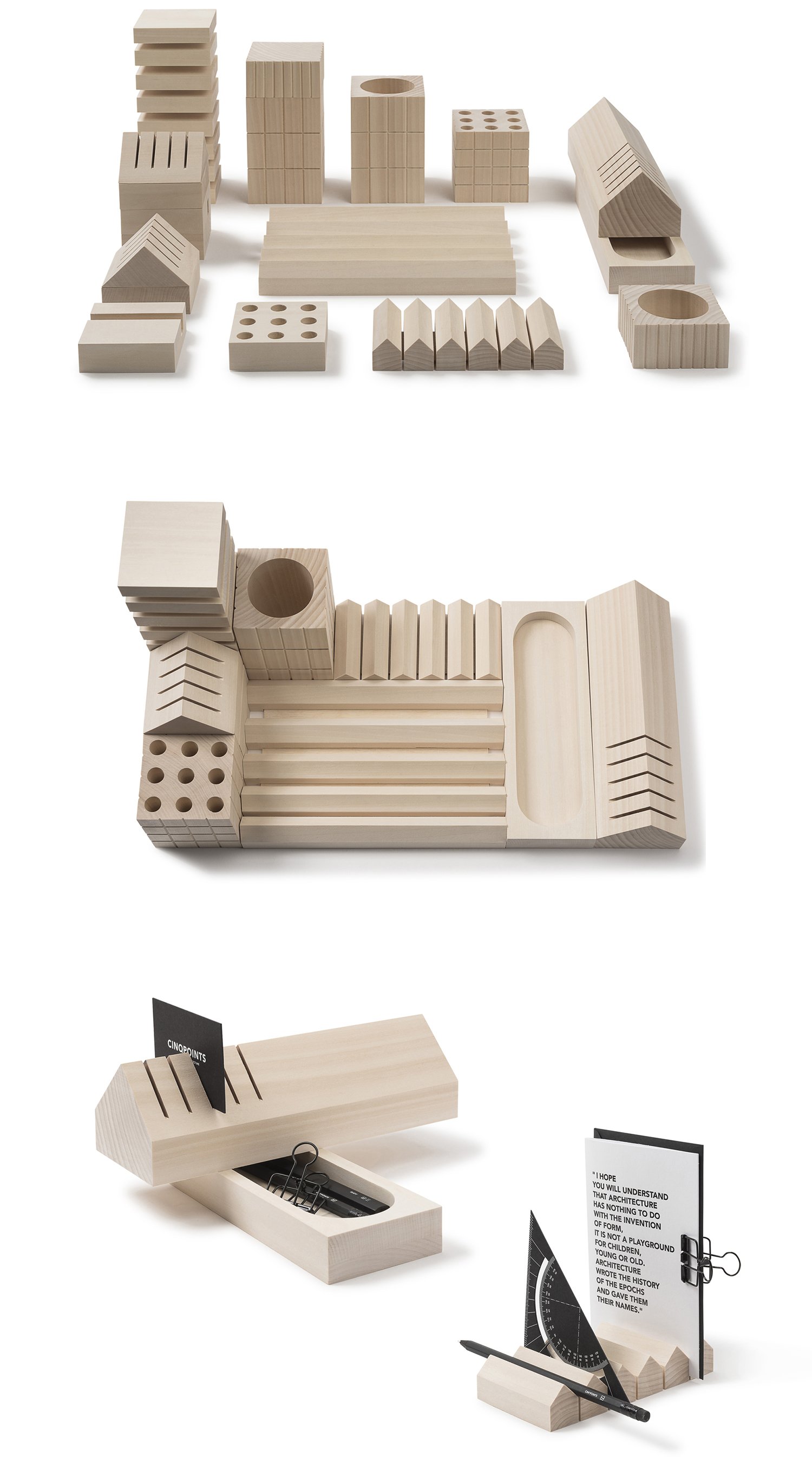 Curator: this is the best desk top stationery organiser that we have seen. the quality is outstanding and the different permutation is beautiful. - Volumes is a line of wooden office accessories : a pencil holder, organizer, pencil box, paperweight inspired by city and urban landscape. Conceived as a modular city, all the elements can be used independently from one another or grouped to create a coherent set. This collection is entirely hand made out of lime tree wood, non-treated, non-varnished.