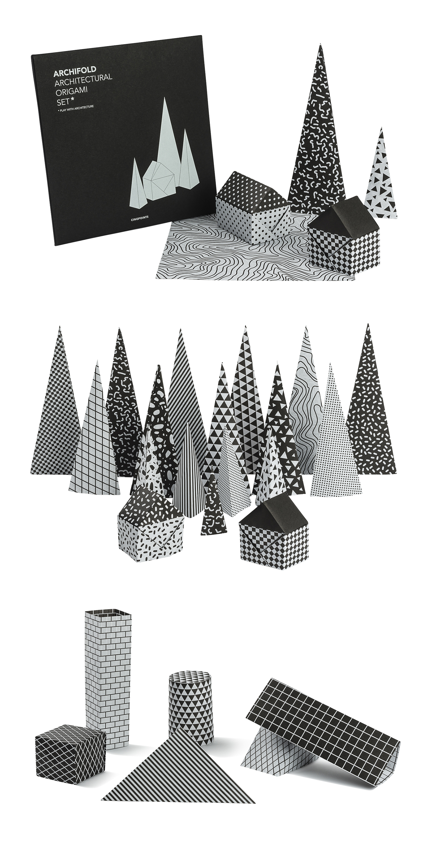 Curator: beautiful graphics and shapes to decorate your bookshelves. - A series of origami sheet of paper inspired by framework used by architects to create plans. A diagram is included in the envelope to give the possibility of making a little house, but it's only one of the many possibilities offered by this set. The black and white patterns are different on both side of sheets. All the simple or complex origami models can be realised with this set.