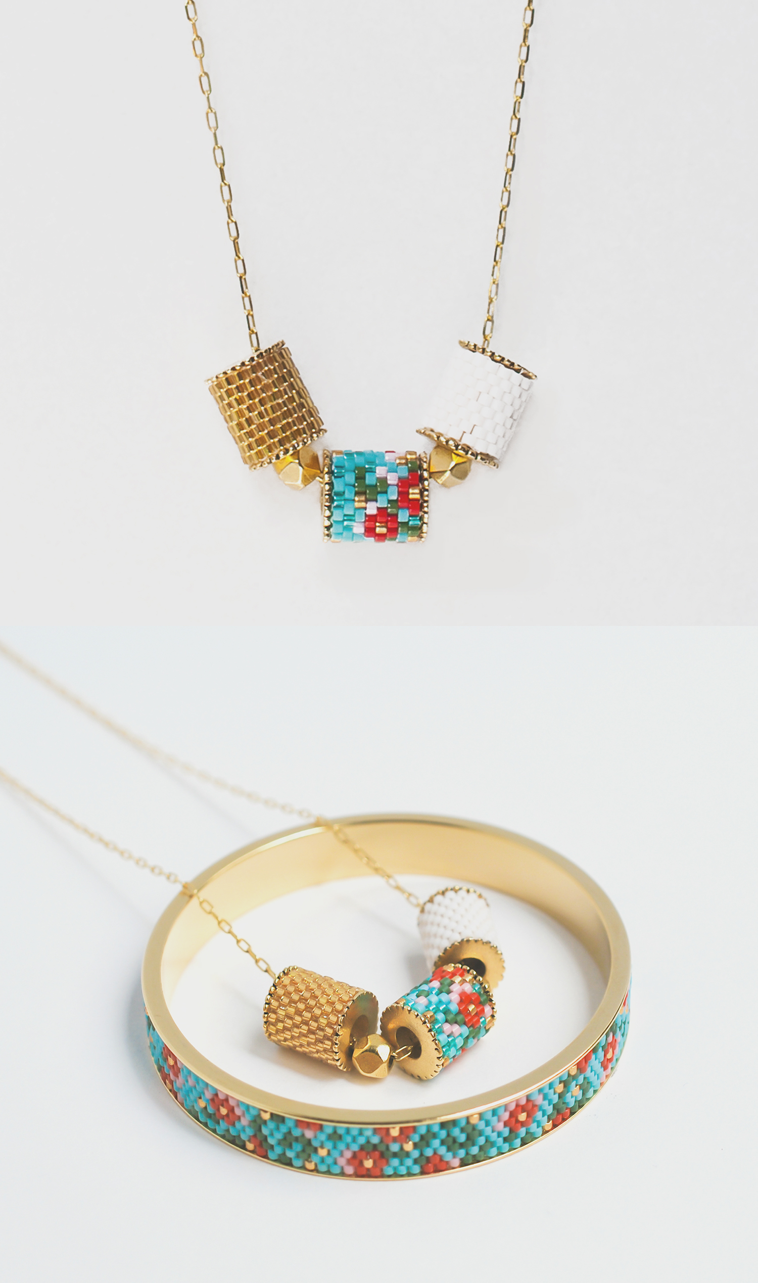 策展人:精心手工编织的饰品,绚丽的色彩和图案受到了土生华人文化的影响。 - 斯蒂芬妮聚焦手工编织技术,选用优质日本Miyuki珠子,打造具有现当代美感的、实用的可穿戴单品。她与新加坡手工制作珠宝的工匠一同设计、合作完成各类珠宝项目。