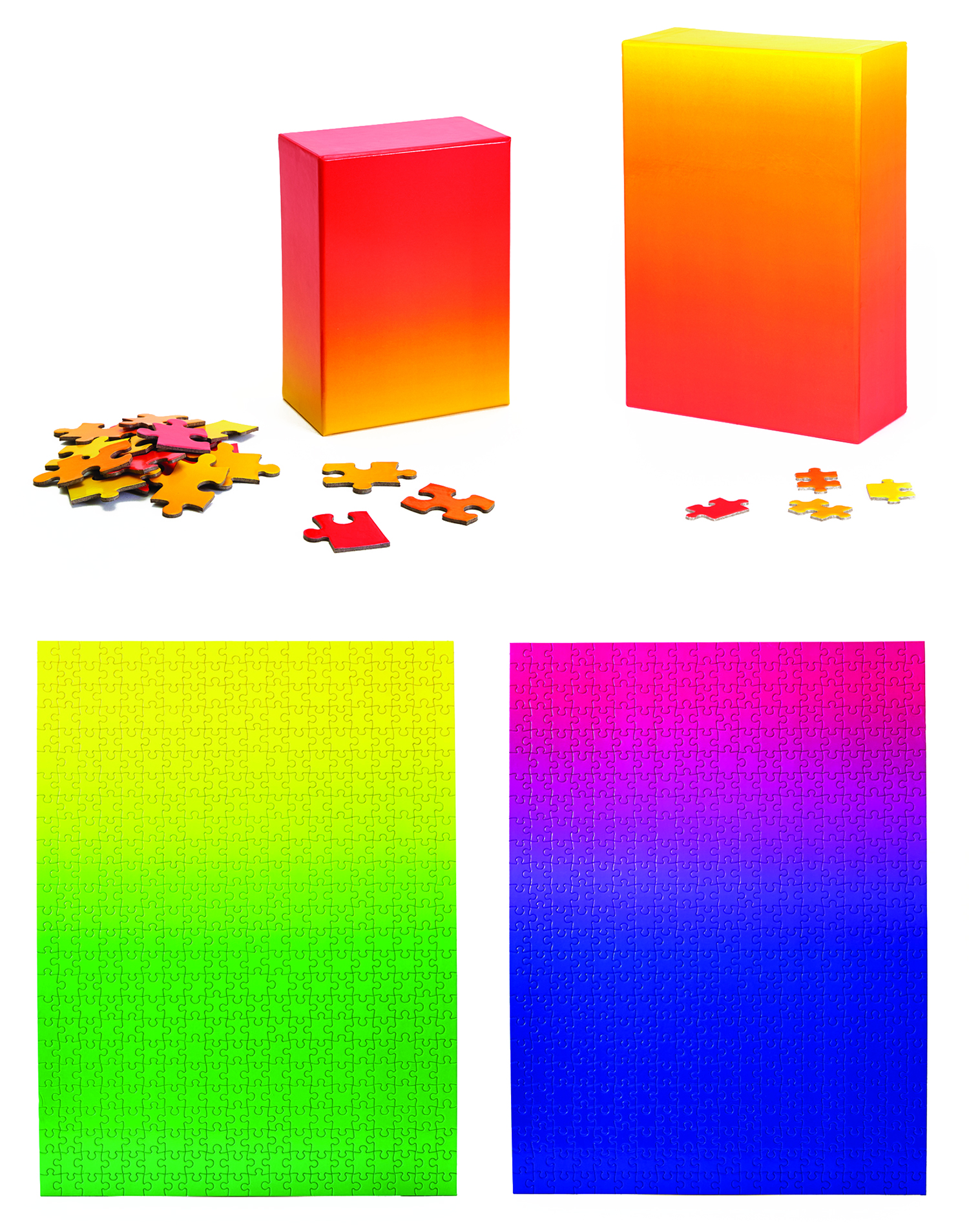 Curator: this is how you make a puzzle simpler and at the same time harder, loved the concept. - This gradient puzzle is a vibrant way to meditate on colour. The act of putting it together is slow and deliberate, where the colour of each piece is used to locate its proper position.