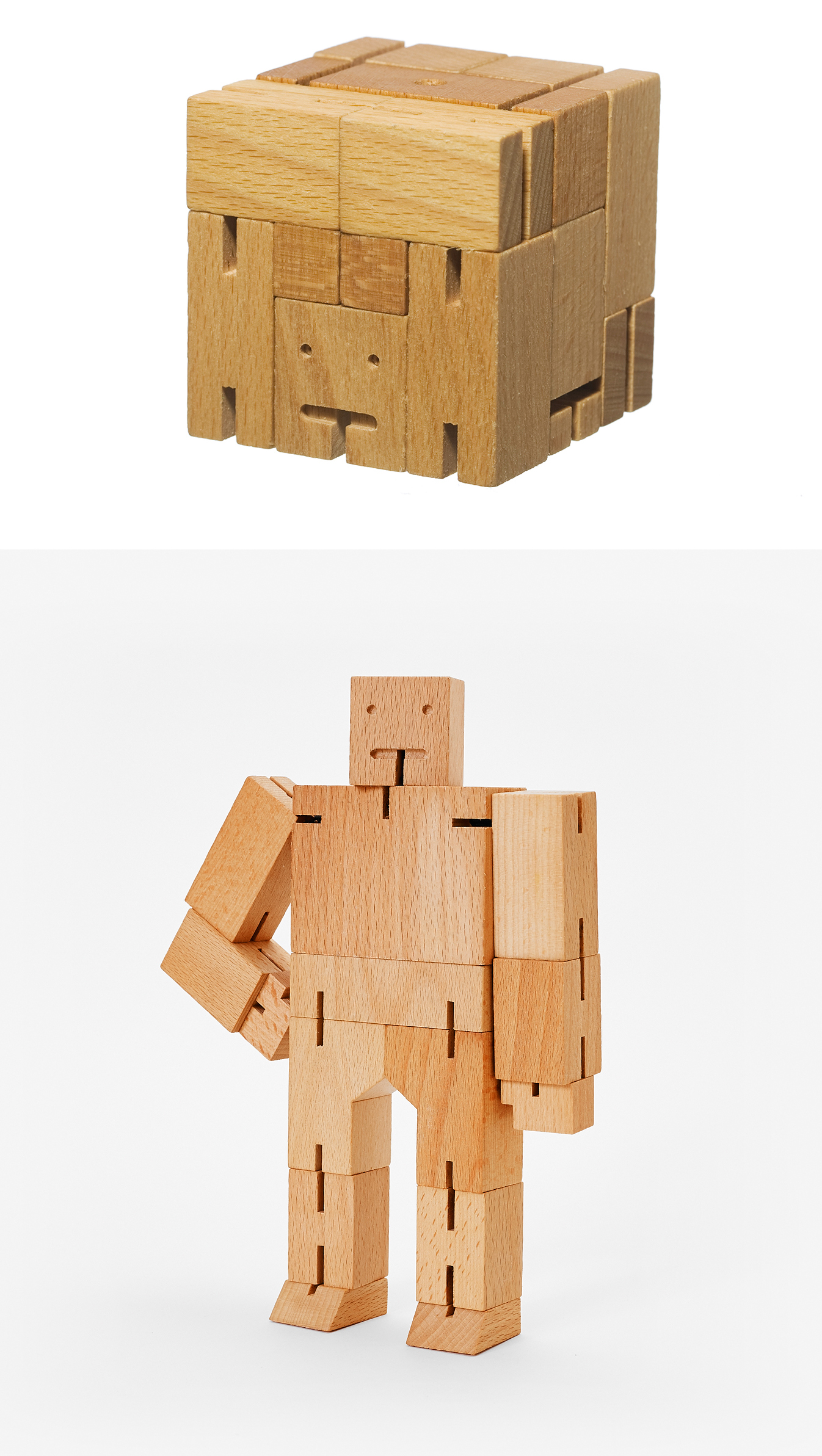 Curator: this understated archetype of a robot is the perfect toy on your desk for you to play when you feel bored at work. - This wooden toy robot is inspired by Japanese Shinto Kumi-ki puzzles. It is made from wood and elastic bands. It can be positioned to hold dozens of poses. When it's time to rest, Cubebot folds back into a perfect cube.