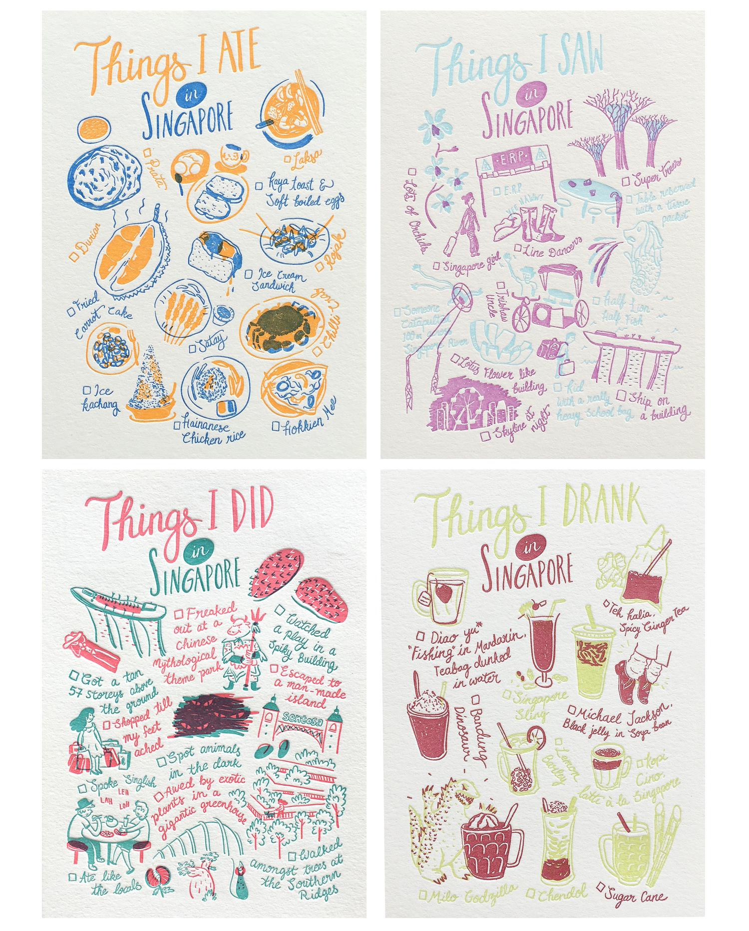 """策展人:这不仅仅是另一张旅游卡,而是新加坡人思想、艺术和工艺的真实体现。 - 在新加坡一家后院凸版印刷工作室里,Jacqueline Goh(Jackie)与海德堡""""Windmill""""的'Klaus'一同创作出了一系列怪诞的作品。这一系列描绘了小岛上不同的食物、景点和活动。提起能让人们获得最好的旅行体验,难道还有比拿着清单,打卡心仪景点更好的方式吗? 这不仅可以让他们了解到新加坡有什么,还可以让他们以新的方式和愉悦的心情体验新加坡。"""