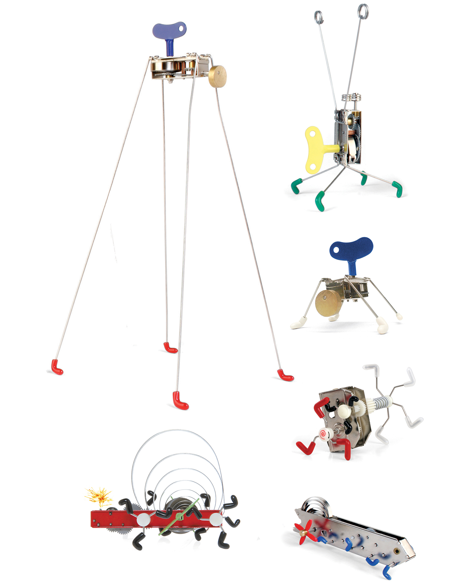 Curator: its a mechanical victory against digital. it is simple fun that will bring a laugh to anyone. - A series of mechanical wind up toys that jump and wobble with amazing energy.