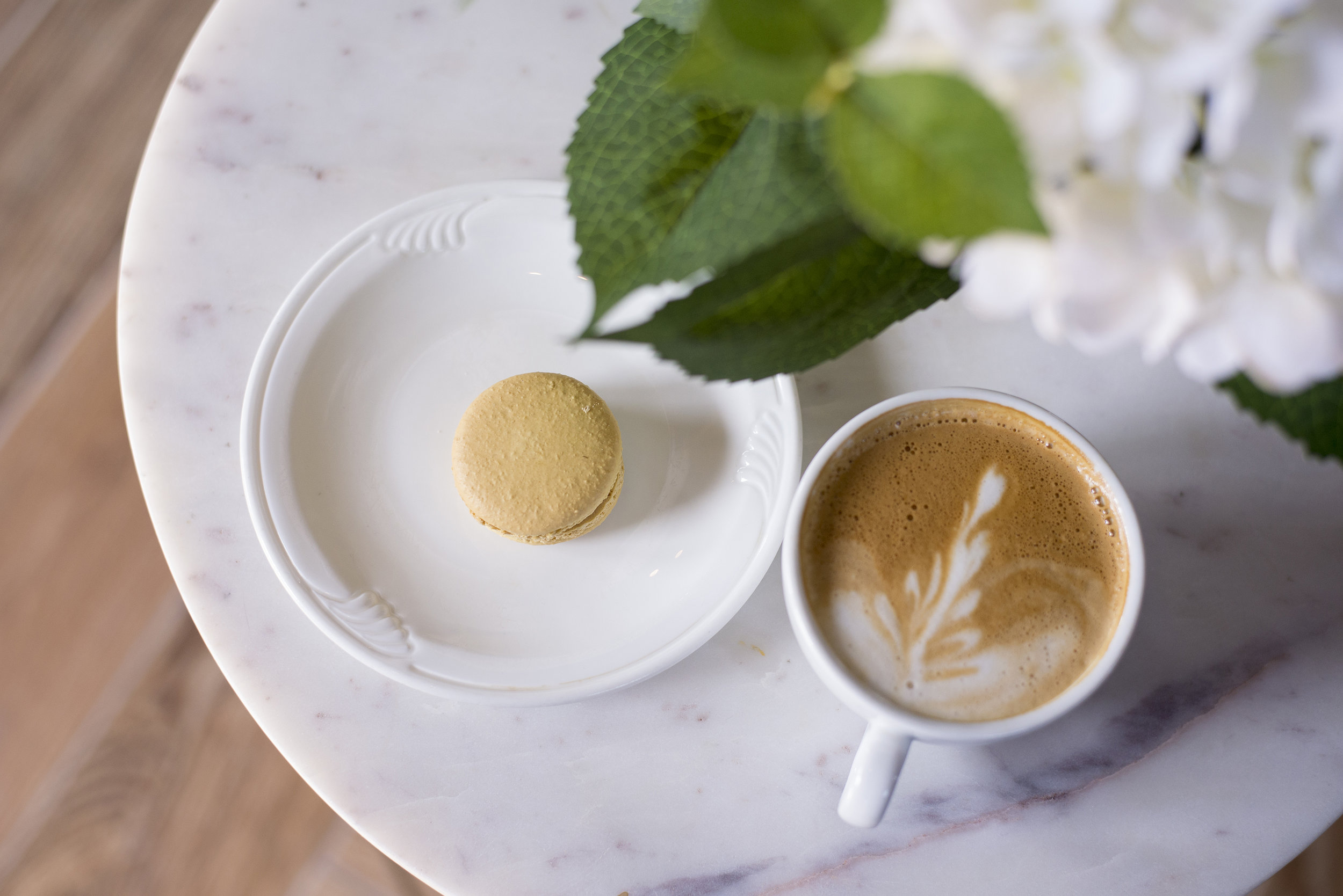 SERVING BOSTON STOKER COFFEE - and locally made macarons