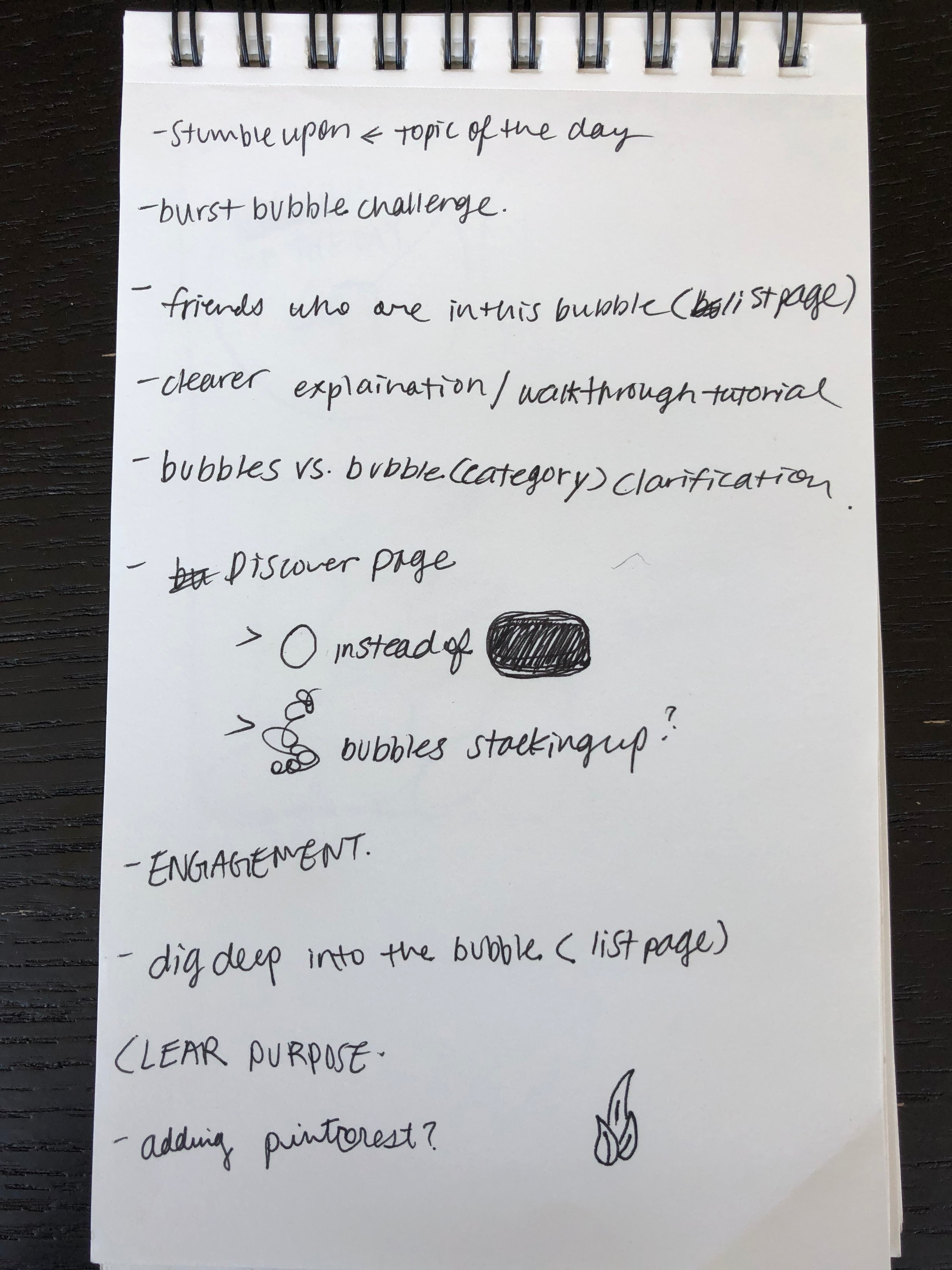 Notes after initial feedback of the project idea presentation.