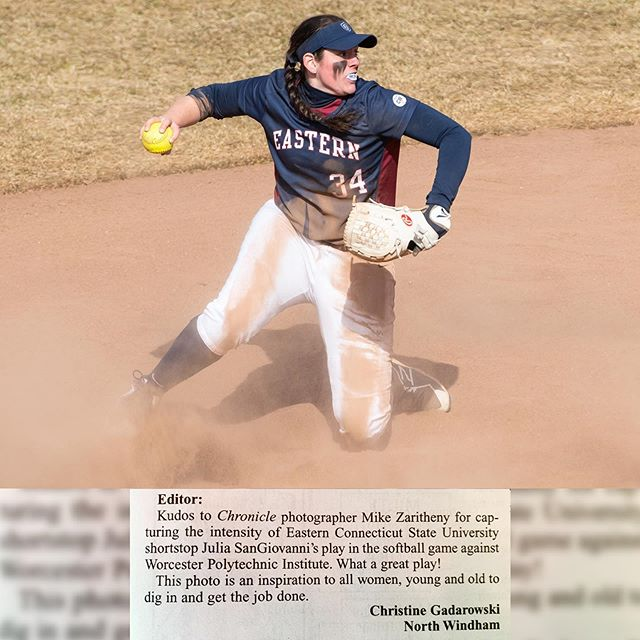Always nice to get a mention. Thank you. 🙏  @thechroniclect @ecsuathletics — Editor: Kudos to Chroincle photographer Mike Zaritheny for capturing the intensity of Eastern Connecticut Sate University shortstop Julia SanGiovanni's play in the softball game against Worcester Polytechnic Institute. What a great play! This photo is an inspiration to all women, young and old to dig in and the job done.  Christine Gadarowki North Windham