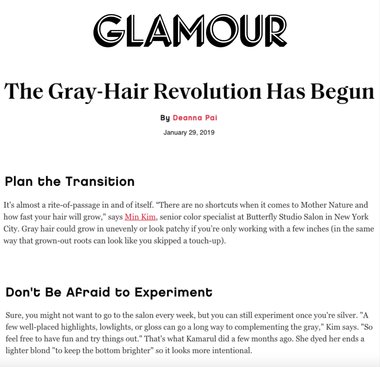 GLAMOUR.COM  Color expert, Min Kim is featured in Glamour talking about growing out and maintaining grey hair.