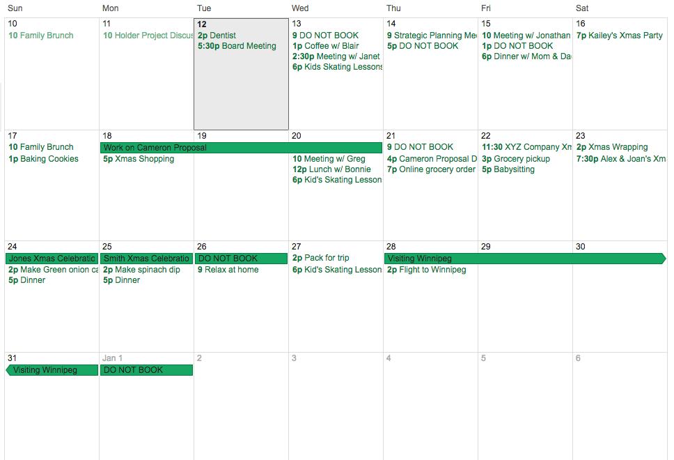 Sample Holiday Time Management Calendar