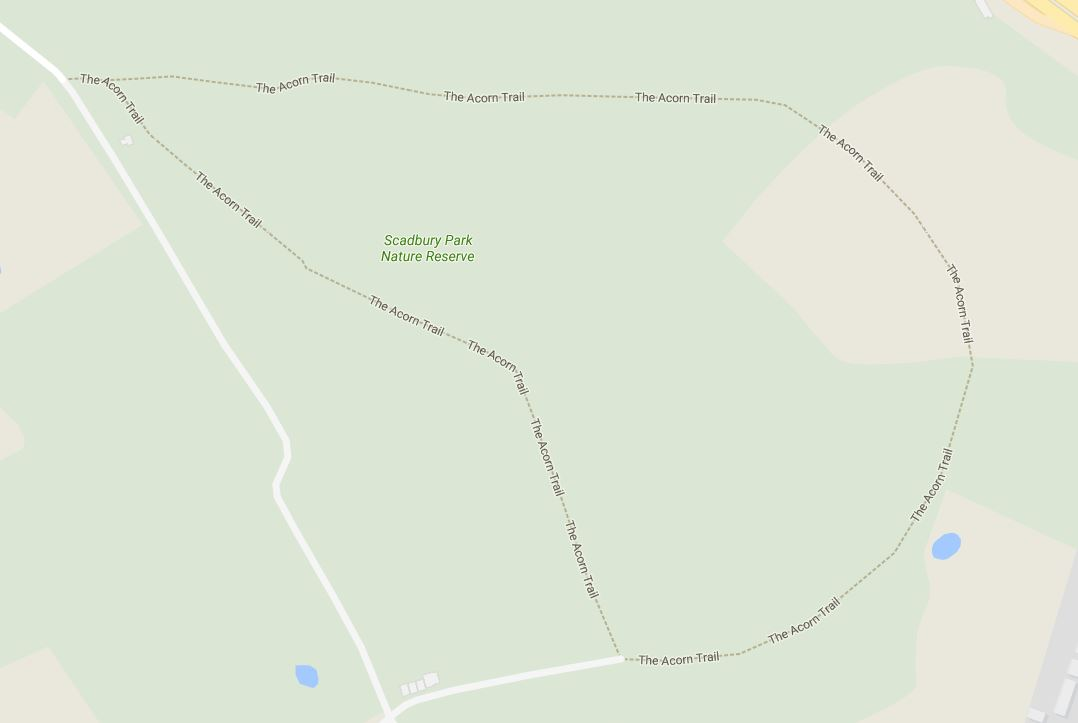 The Acorn Trail, mapped on Google Maps