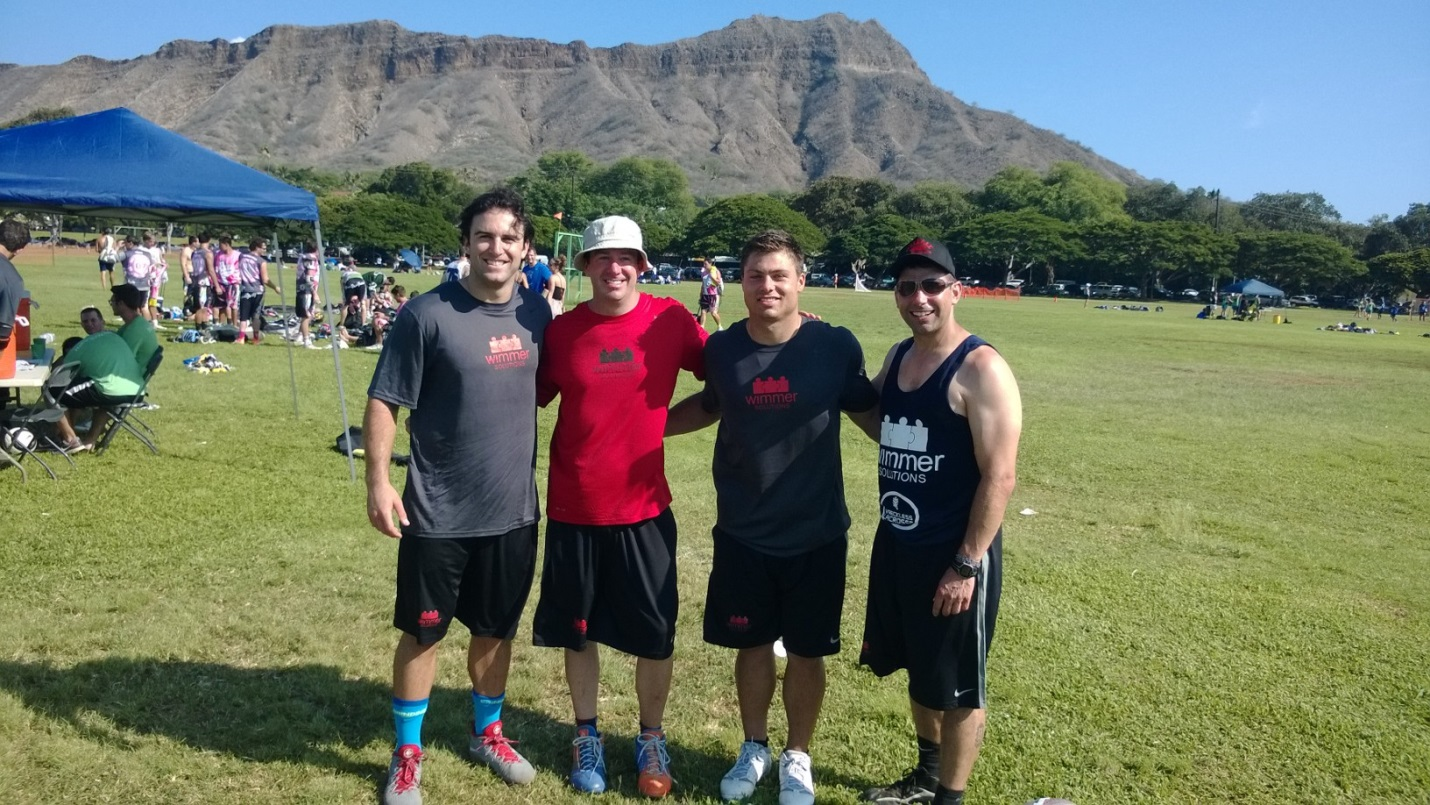 Max Seibald, Matt Sauri, Rob Pannell and Kevin Mincio laxing for a cause with the Wimmer Solutions crew