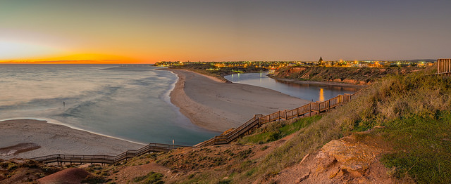 Onkaparinga River Mouth. Photo by Anthony Kernich via  Flickr .