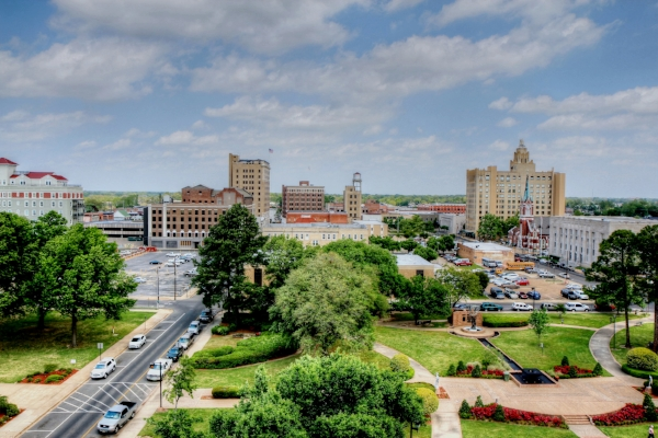 Monroe, LA from the St. Frances parking garage. Photo by finchlake2000 via  Flickr .