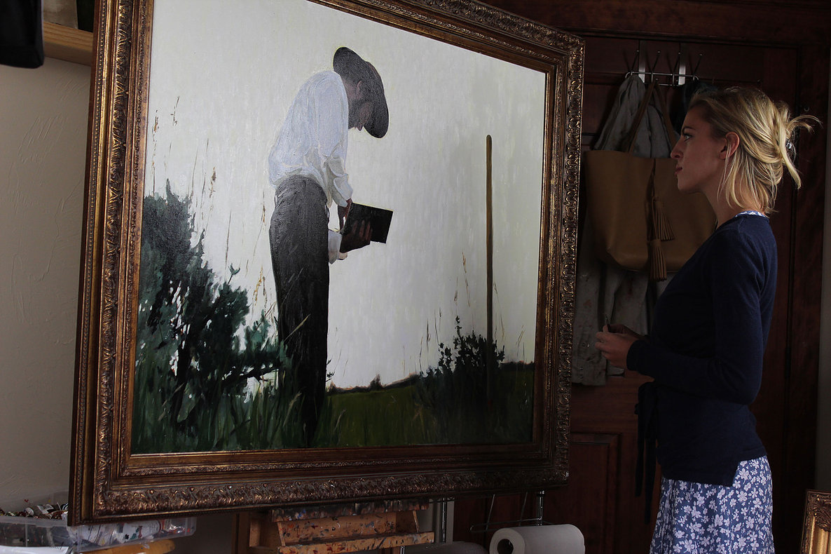 Morgan Irons with her painting  Bone Man,  a finalist in the 13th International ARC Salon.
