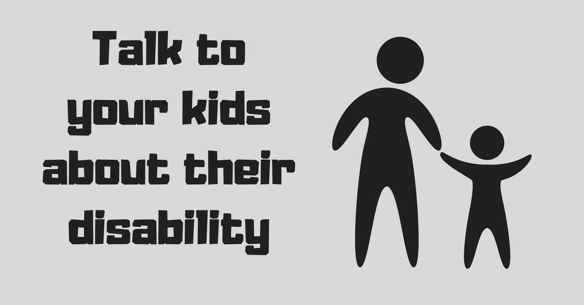 "Image description: ""Talk to your kids about their disability"" next to a drawing of an adult holding hands with a child."