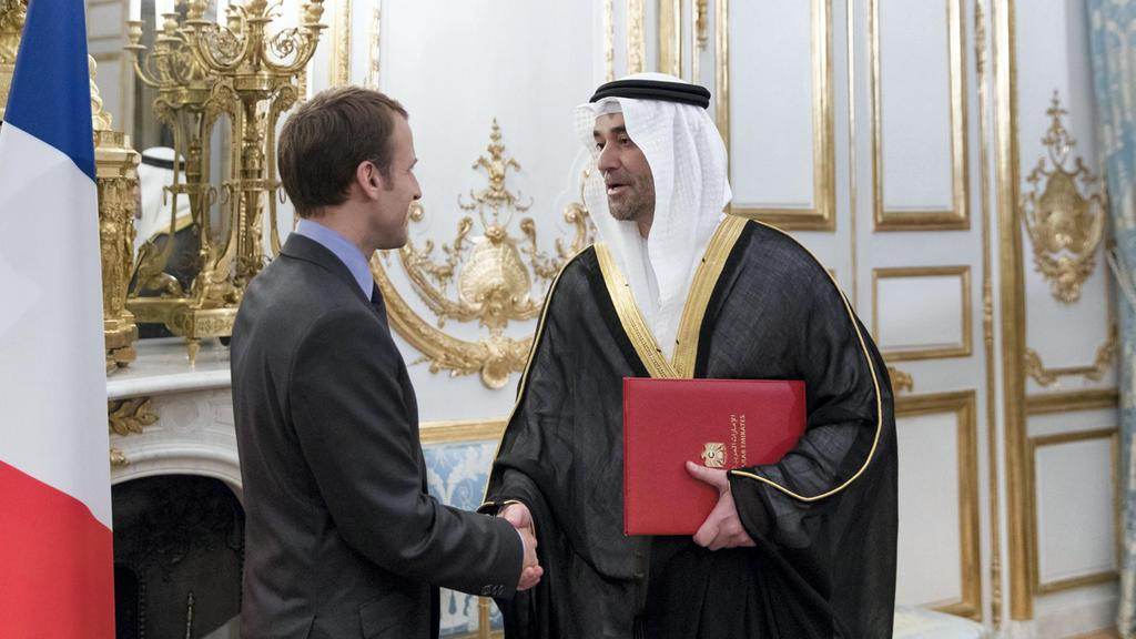 Omar Saif Ghobash, the new UAE ambassador to the French Republic, presented his credentials to President Emmanuel Macron at the Elysee Palace in Paris on December 18, 2017. Philippe Servent / Presidence de la Republique