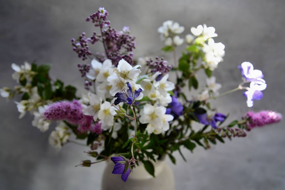 wild and foraged flowers as interior styling