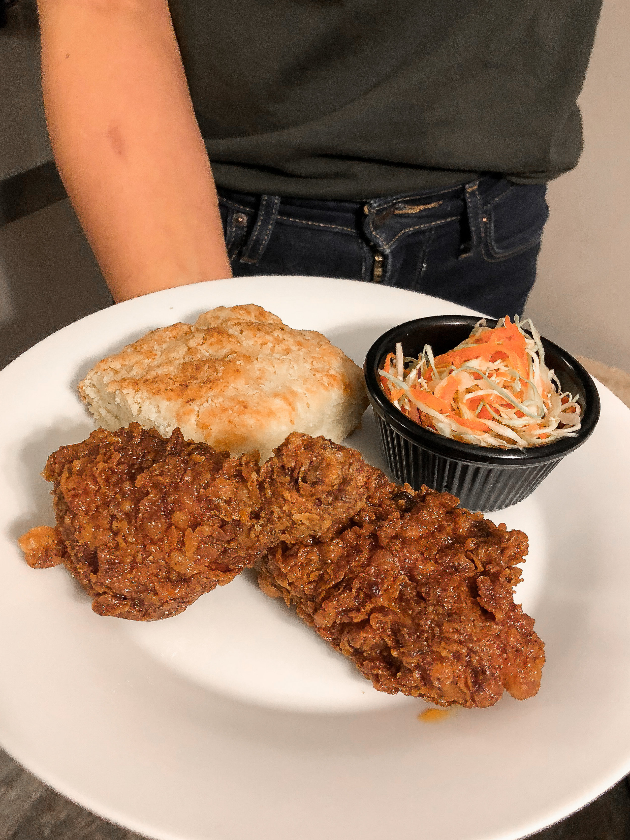Nashville Hot Fried Chicken with a Biscuit &Slaw
