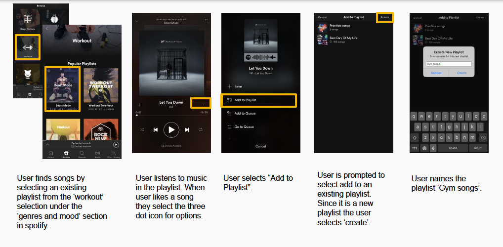 Good example of a flow for the scenario of creating a playlist for an activity (Spotify).