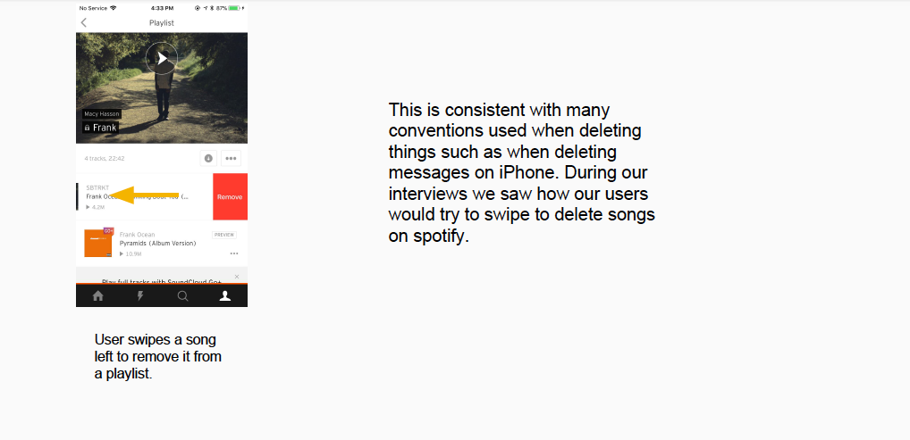 Good example of a flow for deleting a song from a playlist (Soundcloud).