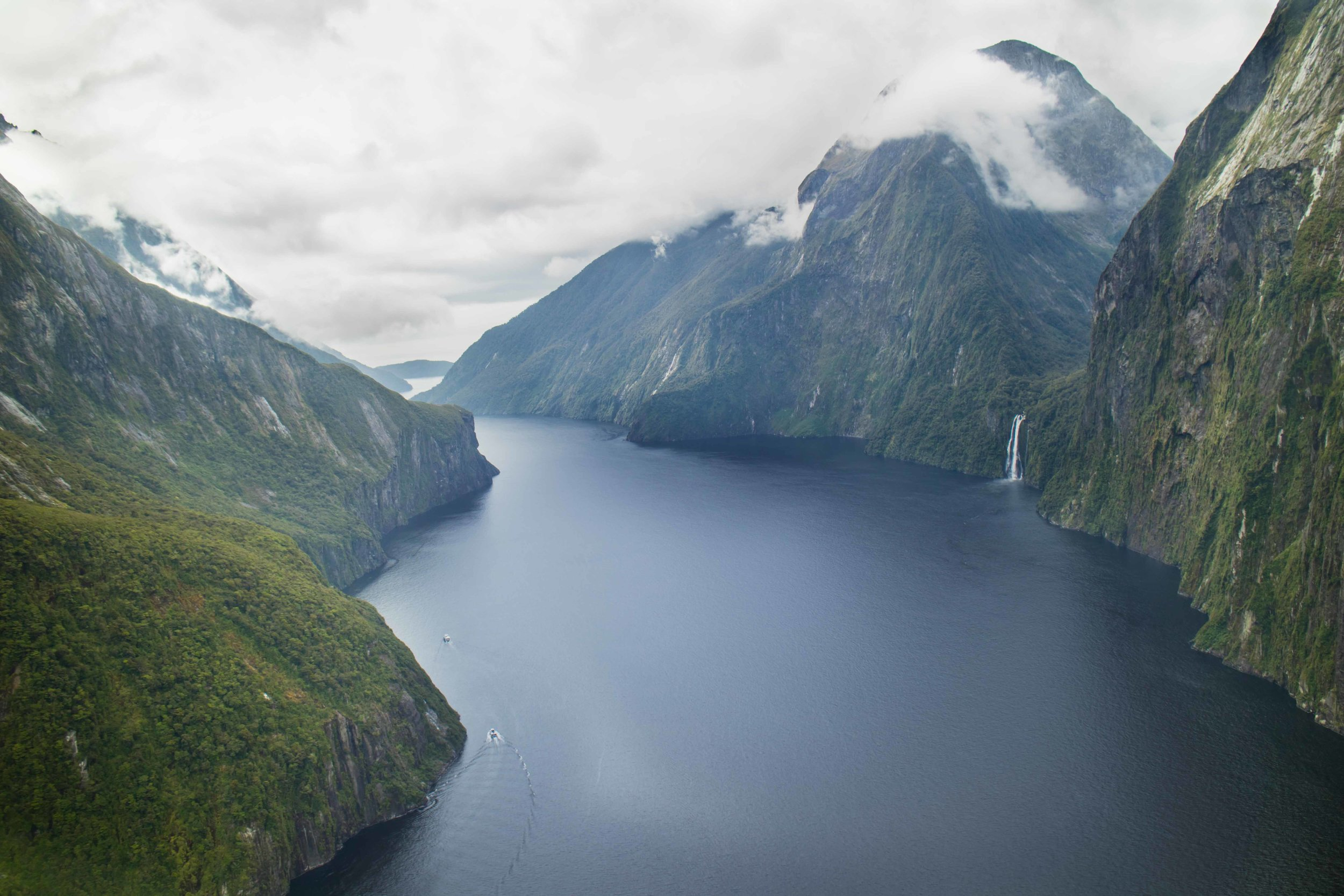 One of many waterfalls at Milford Sound, NZ.