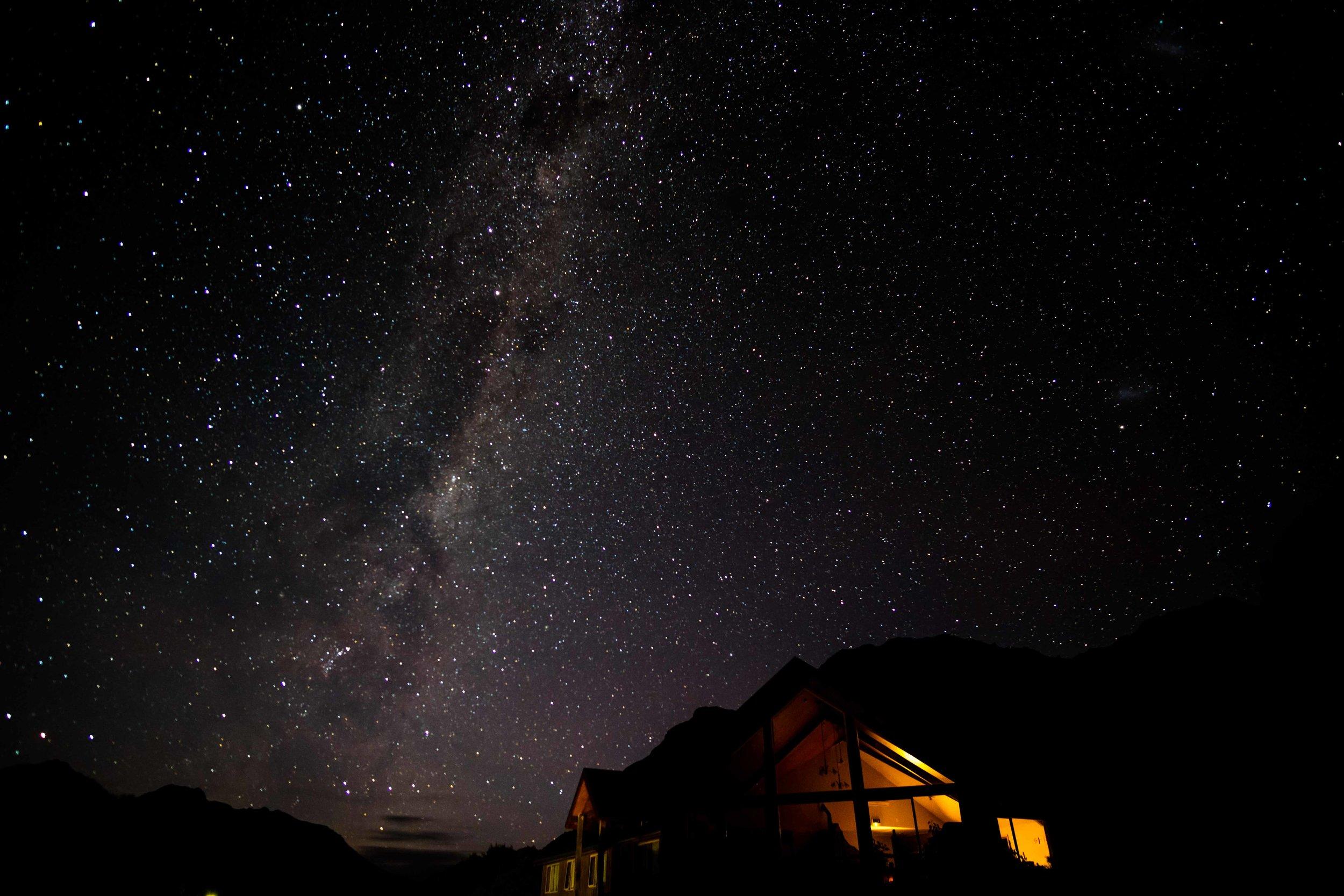 Milky Way in Mt. Cook Village, NZ.