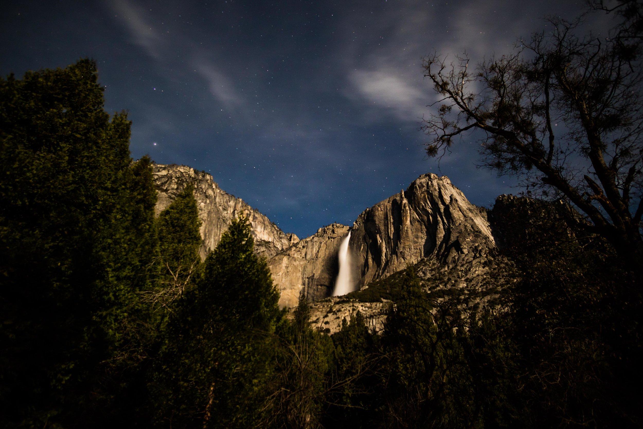 Yosemite Falls by moonlight.