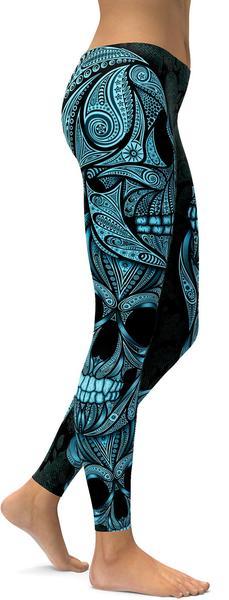 BLUE ORNAMENTAL SKULL LEGGINGS - $87.99