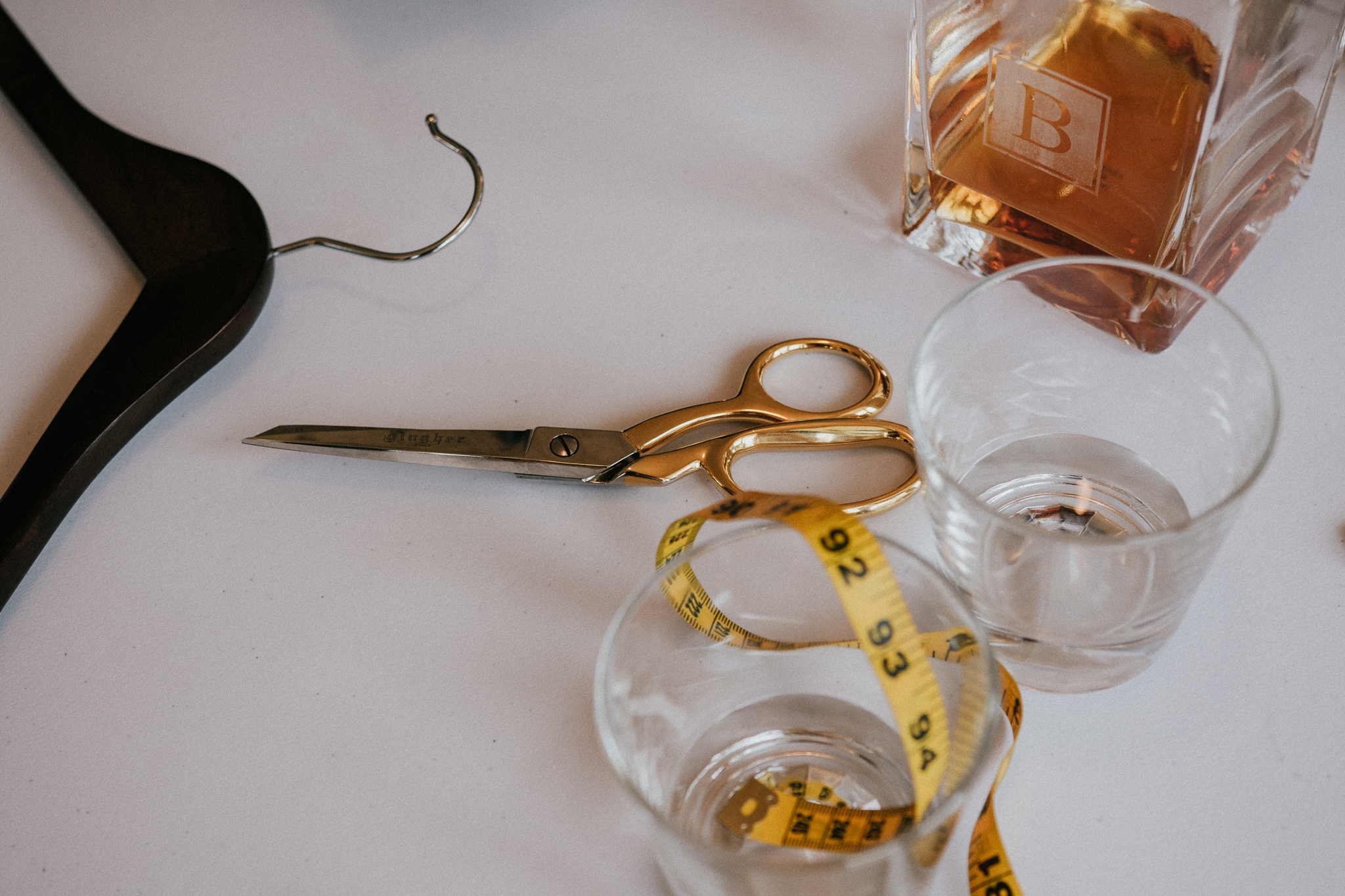 Measuring tape and sewing scissors.
