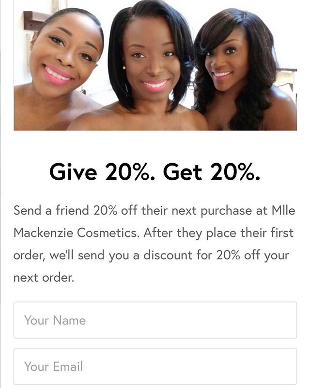 GIVE 20%. GET 20%.⠀ -⠀ -⠀ Welcome to Mlle Mackenzie's REFER-A-FRIEND program! When you send your friend 20% off you will receive 20% off as a reward.  Visit our site's homepage to sign up with your email and send the link to get started. When you find a great deal, wouldn't you want to share it?!?!! ❤️⠀ -⠀ -⠀ #mllemackenzie #dippedincolor #twirledinradiance #referafriend #makeupjunkie #mualife #sales #dailydoseofcolor #motd #glowup #makeuplover #preciouspink #radiance #innerbeauty #makeupguru #makeuplife #fiercesociety #talkthatmakeup #featuremuas #makeupgirlz #beautycommunity