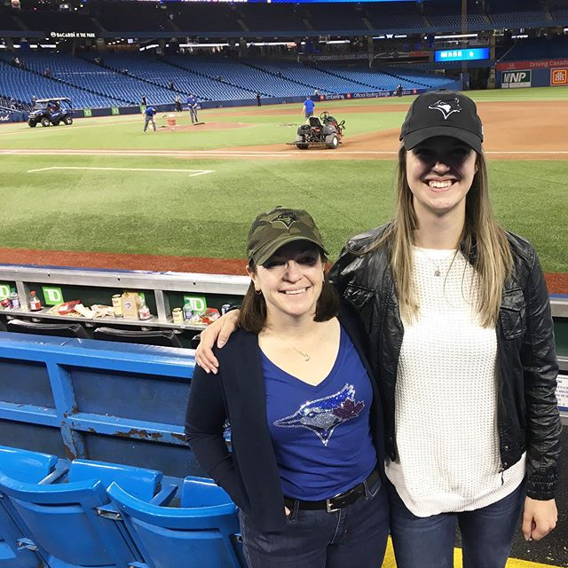 13 innings later & I made it through my first MLB game in #YYZ ⚾️ thanks for a great first game @bluejays & an even bigger thank you to @telfordsmith for sending @hrhski & I to the game!