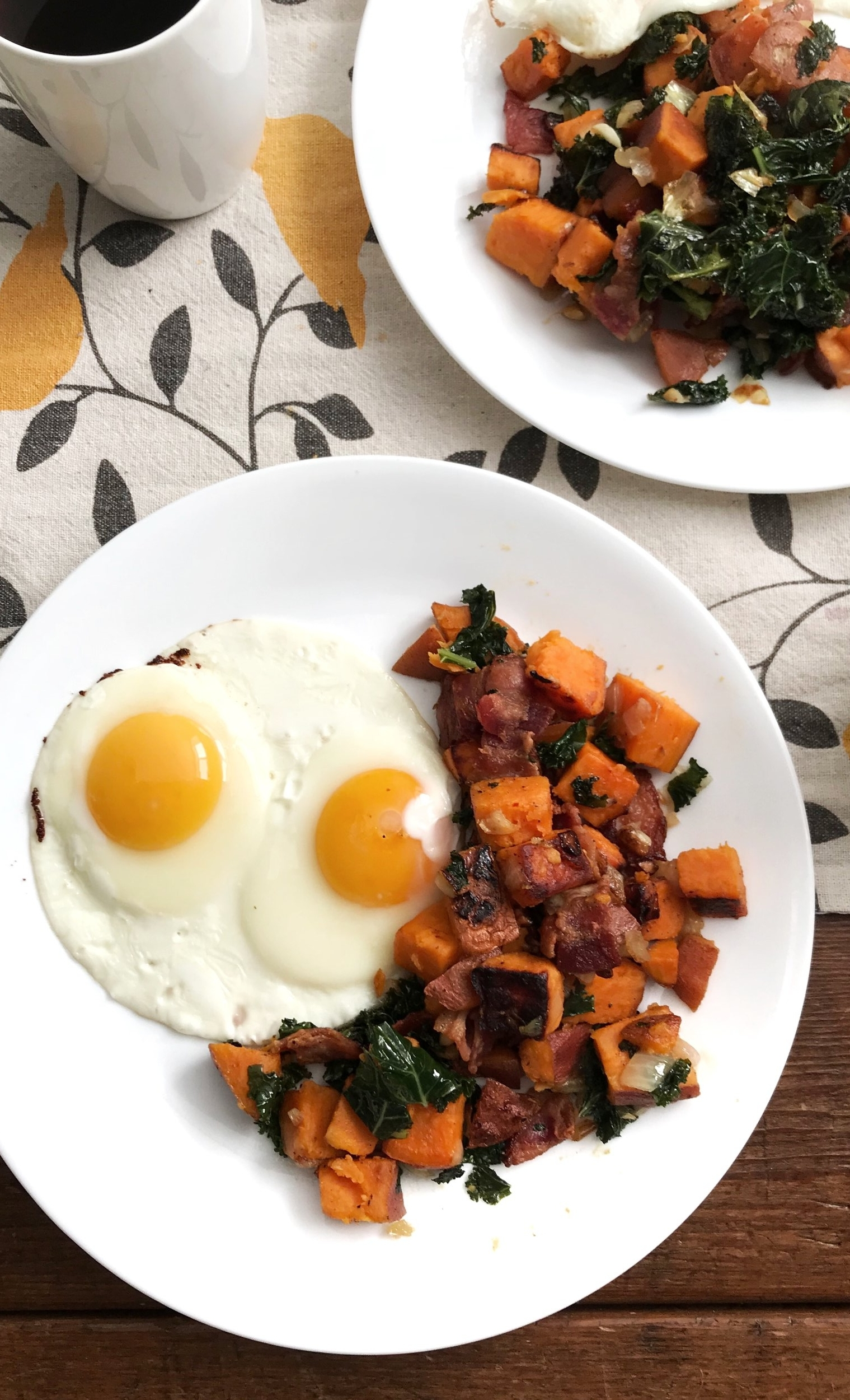 THE BEST Sweet Potato Hash - Ingredients:1 small sweet potato/ half large sweet potato2 cloves garlic1/4 onion1-2 cups washed kaleOptional: organic/ vegan sausage, tofu, bacon, etc.Directions:Heat a skillet with extra virgin coconut oil, add diced sweet potato & let cook for 10-15 minutes on medium-high heat, stirring often. Half way through the cooking time of the potatoes, add garlic & onion.If you choose to add meat/ vegan alternative, cook in a separate skillet and add when the mixture is nearly cooked.When the sweet potato is bright, and a fork can easily penetrate through, add kale and cook covered for 2-3 minutes. Season with fresh herbs, salt and pepper & serve!