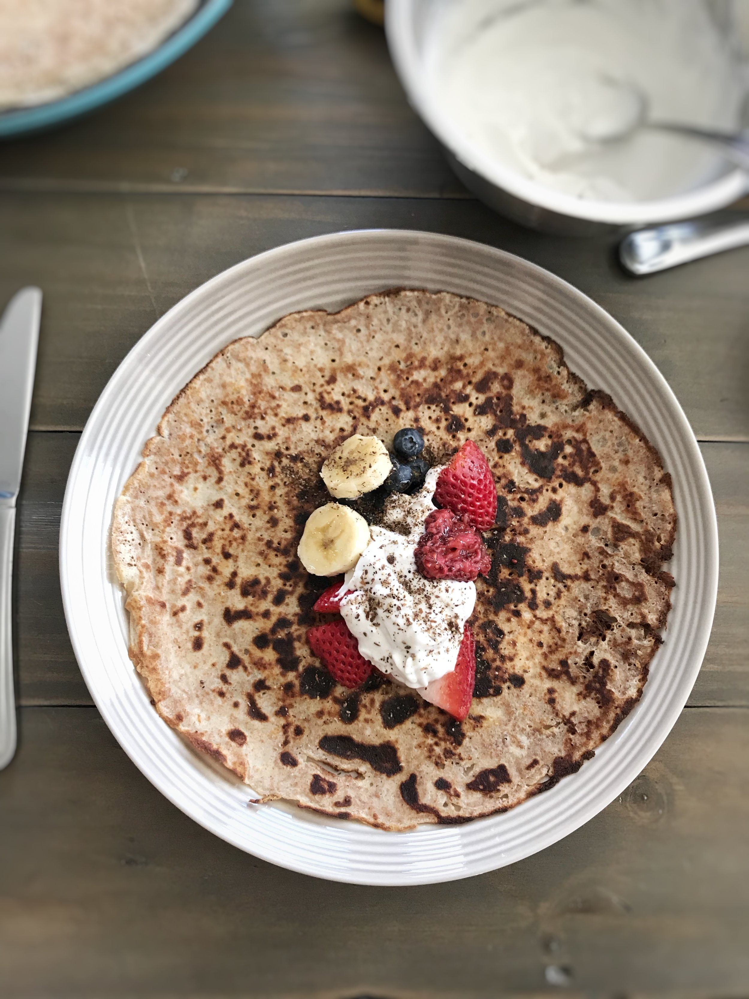 Antioxidant-Rich Crepes - Rich in antioxidants, omega 3 fats & gluten freeIngredients:1 cup spelt flour2 cups nut milk2 eggs2 tbsp honey or coconut sugar1 tsp vanillaPinch of salt1 tbsp coconut oil1 tsp Now Foods Rawsome MealMakes 5-6 10 inch crepes