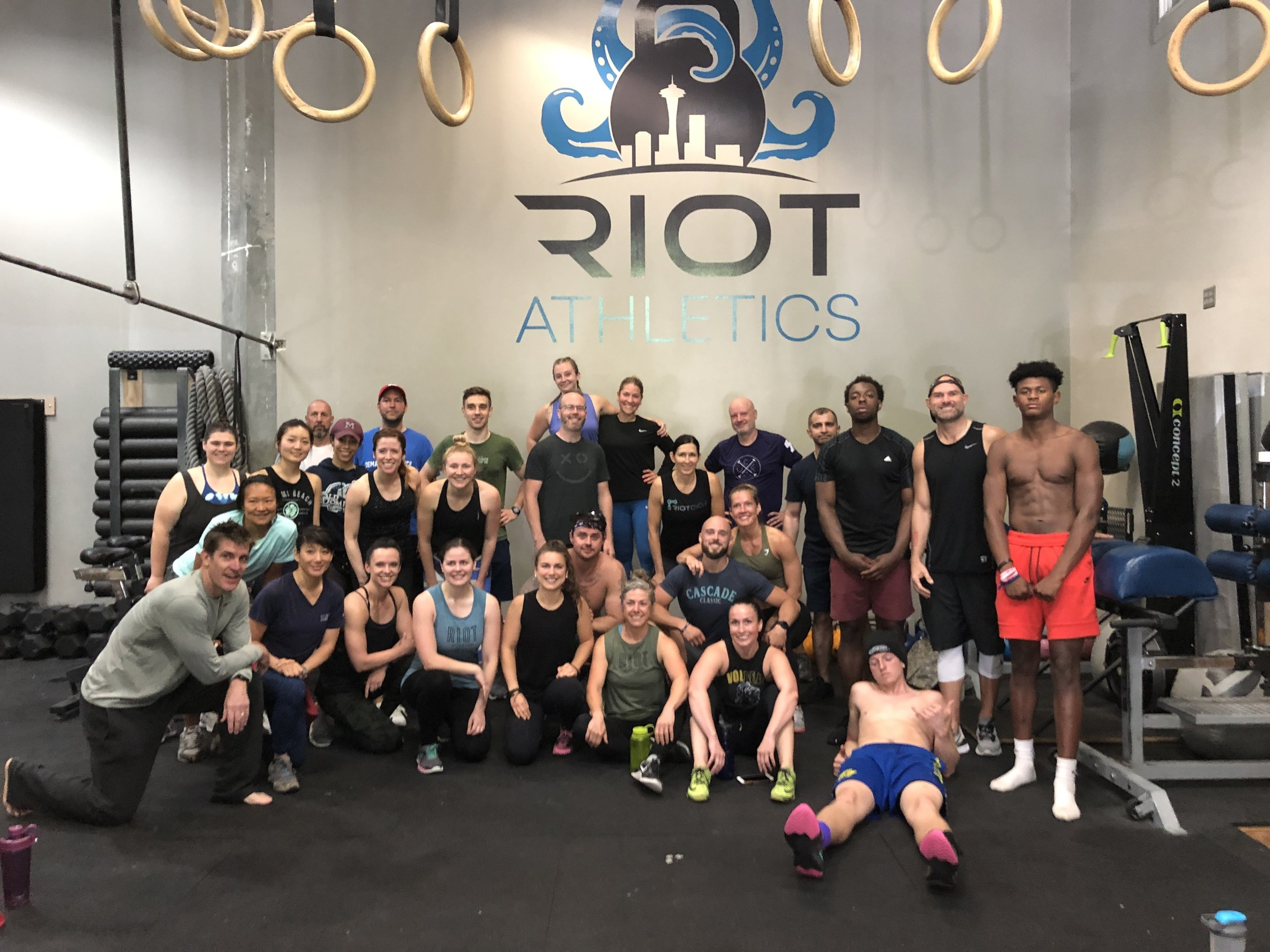 Our Riot crew post Murph/Cycle on Memorial Day. Great job everyone!
