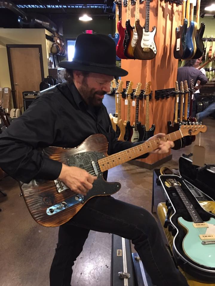 Colin Linden - playing #4 Burnt T-Style - Great surprise to have Colin test run our #4 when we delivered to Carter Vintage Guitars - June 2017.