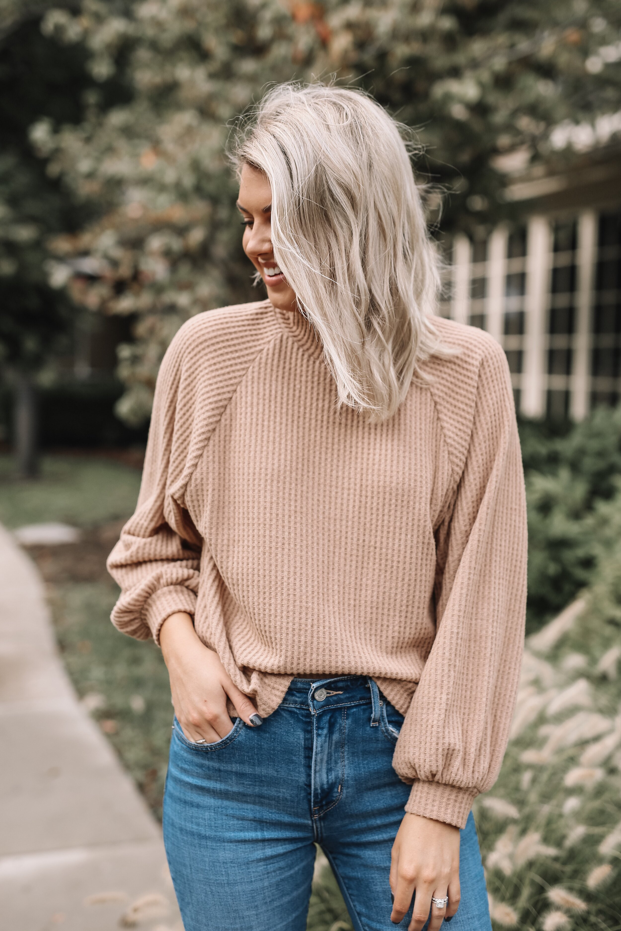 The comfiest mock neck sweater. Love this color.
