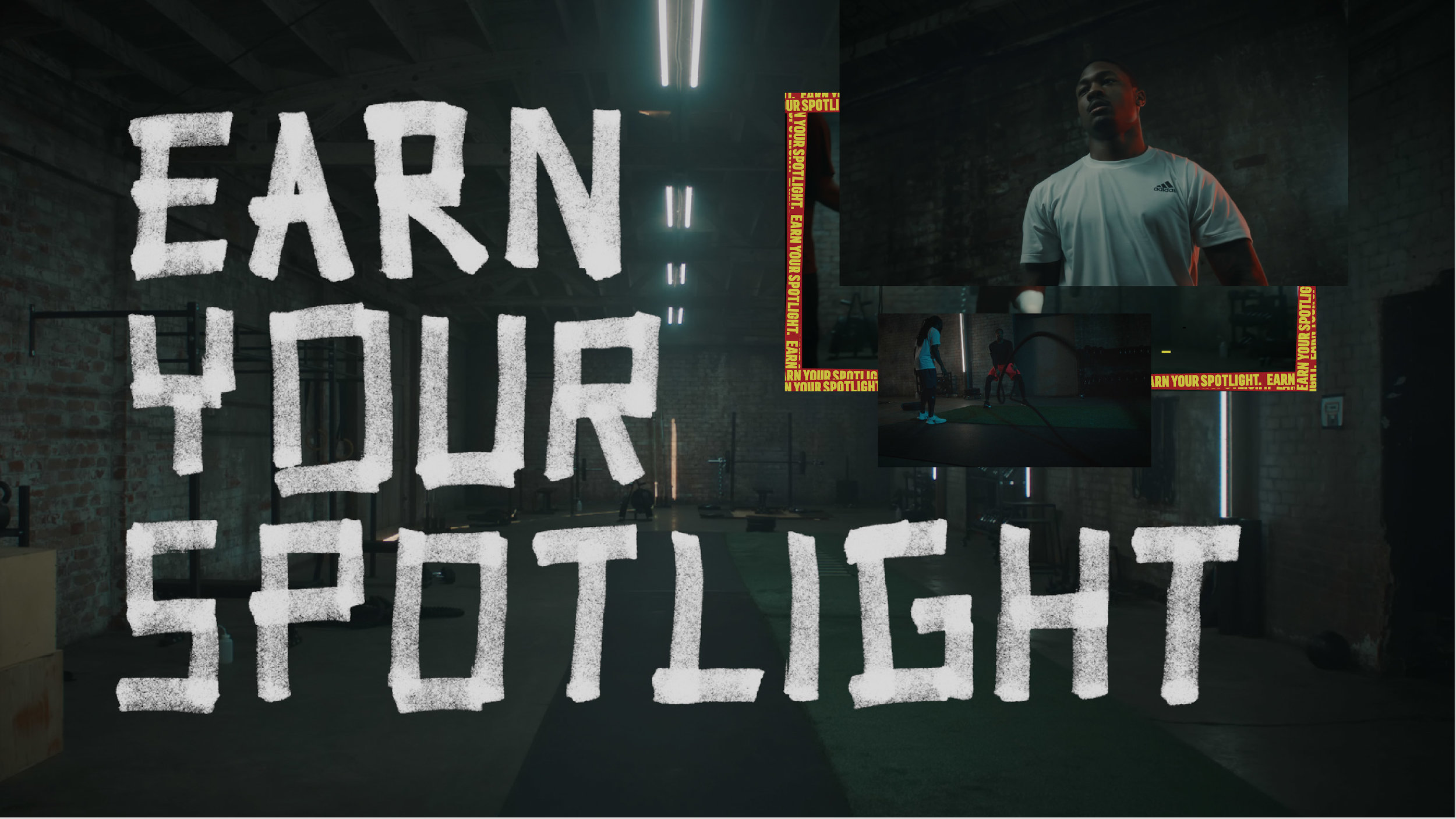 adidas Training and athletics.  Earn Your Spotlight content campaign