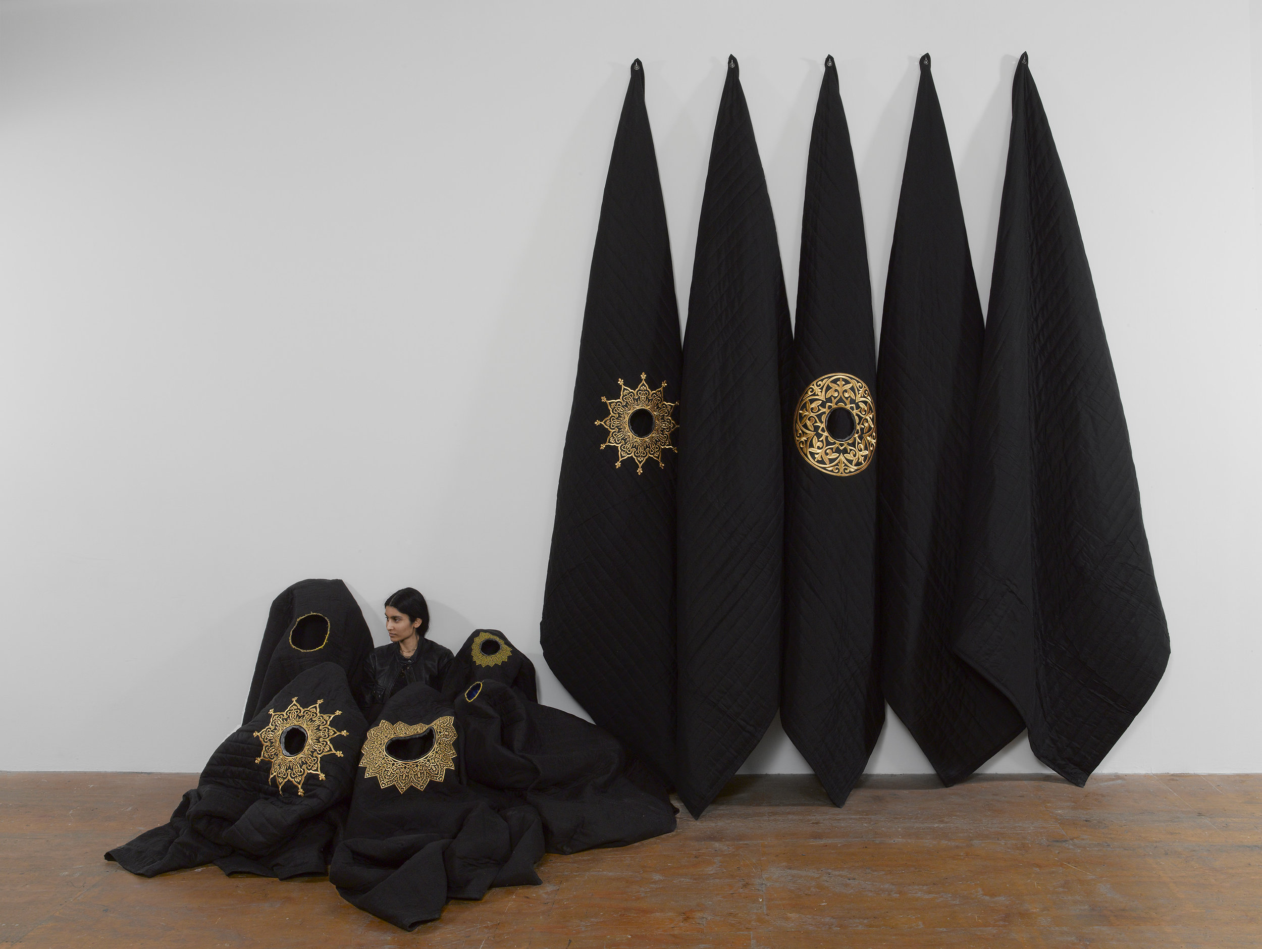 Acoustic Sound Blankets , Silk, felt, industrial sound insulation, gold custom embroidering, 90 × 85 in, 2017