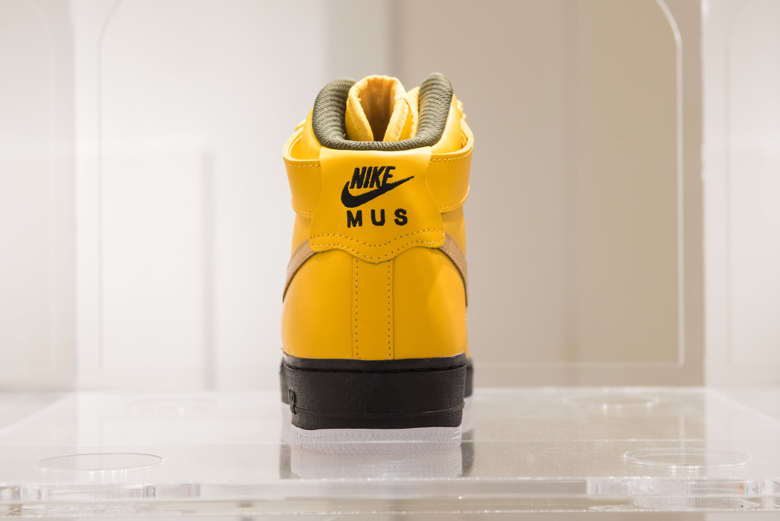 Nike ID #2 ,  Katonah Museum of Art, NY , Nike ID Tag customized Nike Air Force One mid-top shoes, 2018