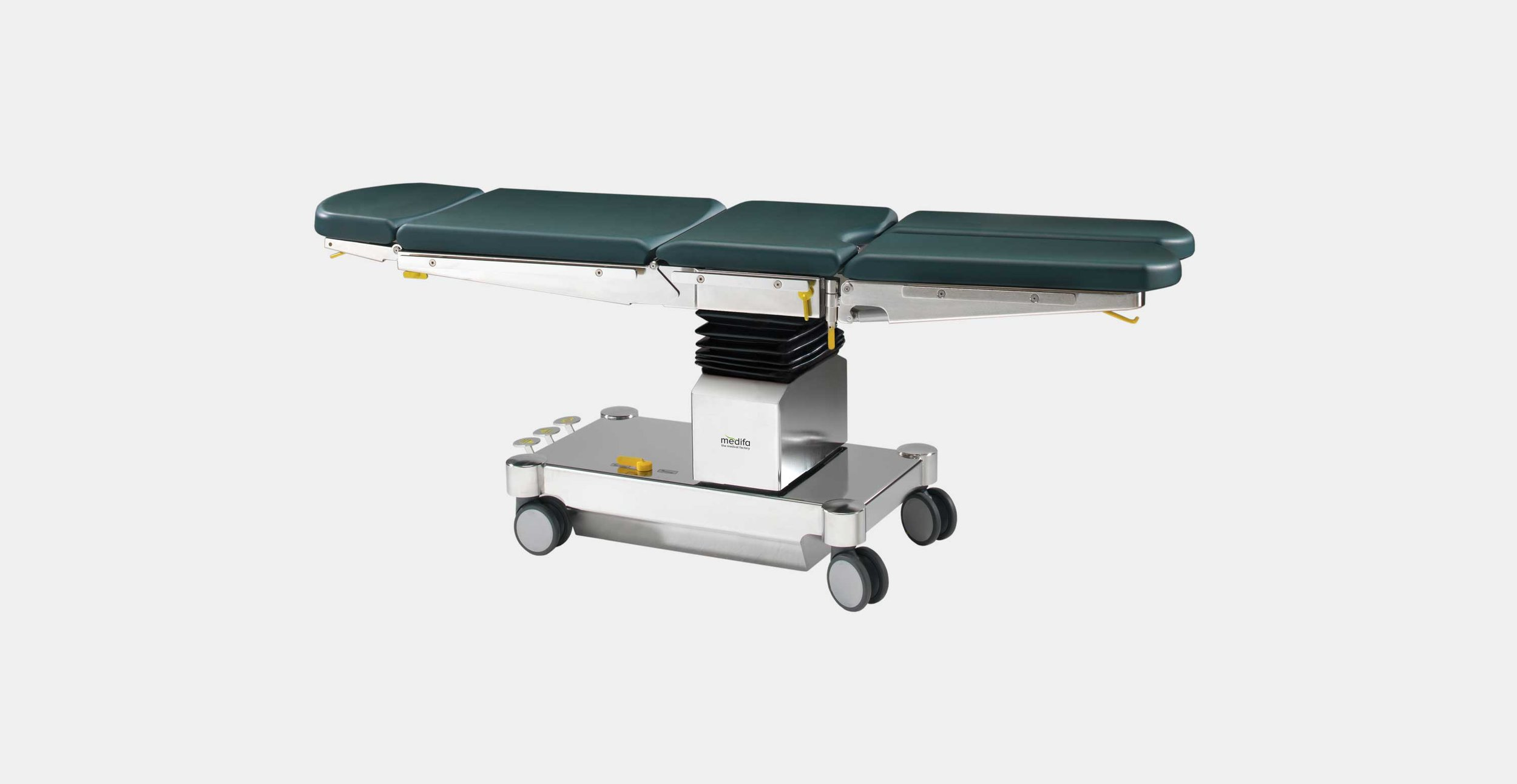 """Medifa 5000 serie - The operating tables of series medifa 5000 are characterized by a very attractive price-performance ratio and the widest diversity of variants on the world market. The three shown variants are only a selection. Please have a look at the brochure """"medifa 5000"""" for further variants.click here for the online brochure"""