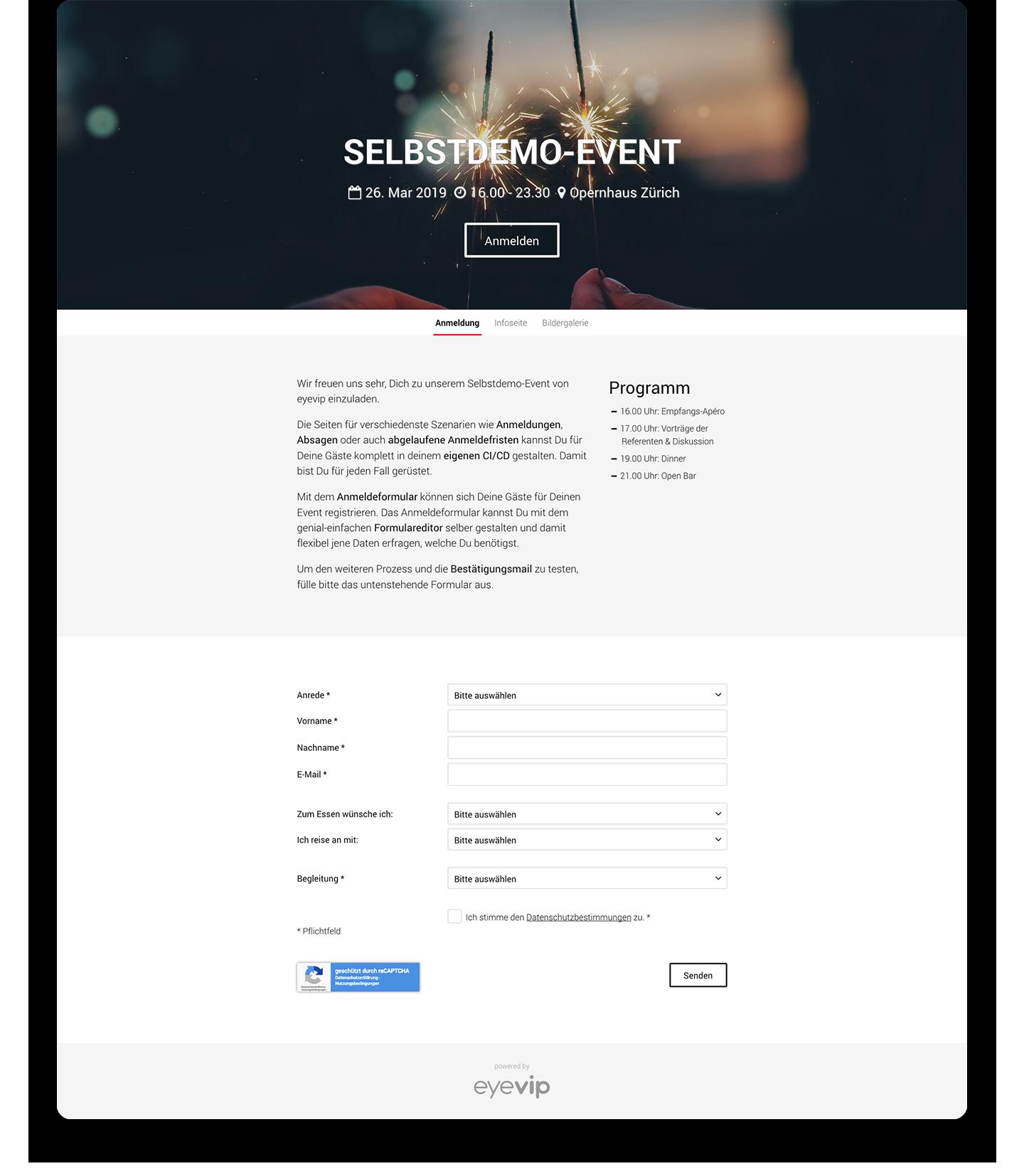 Landing Pages für Events -